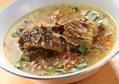 Indonesian chunky beef soup (Soto)