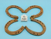 Clover Retro Horse Shoes Gamble Dice On Blue