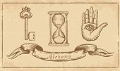 picture of finger-painting  - Magic alchemical Symbols in old yellow paper - JPG