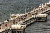 Aerial view on the wooden pier in Sopot