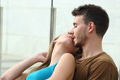 Attractive Couple Kissing With Love