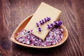 natural soap and bowl of lavender bath salt - beauty treatment /shallow DOF/