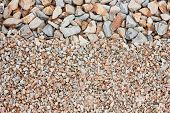 picture of old stone fence  - Two kinds of clean gravel as background - JPG