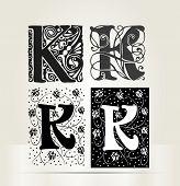 Vector ornamental letter K sign