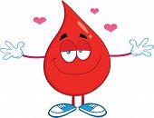 stock photo of open heart surgery  - Red Blood Drop Cartoon Character With Open Arms For Hugging - JPG