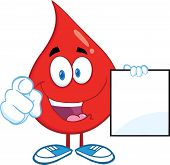 Red Blood Drop Pointing With Finger And Holding A Blank Page