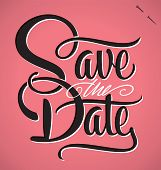 stock photo of fifties  - SAVE THE DATE hand lettering  - JPG