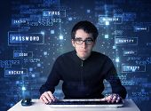stock photo of computer hacker  - Hacker programing in technology enviroment with cyber icons and symbols - JPG