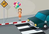 Illustration of a girl near the pedestrian lane holding balloons