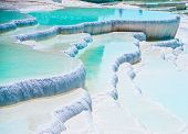 Famous blue travertine pools and terraces in Pamukkale Turkey