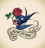 Old-school styled tattoo with a swallow, banner and rose.  Raster image. Check my portfolio for an e