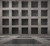 dark room with niches, urban background
