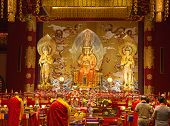 Interior of the Buddha tooth temple in Singapore