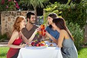 Group Of Friends Enjoying A Meal Outdoors