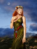 picture of arthurian  - Illustration of a redheaded woman in a silk dress in a Pre Raphaelite style - JPG