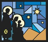 stock photo of desert christmas  - illustration of nativity with a mosaic background - JPG