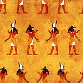 picture of anubis  - Seamless background with Egyptian gods images  - JPG