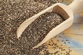 background and scoop of chia seeds on wooden surface