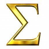 3D dourado letra grega Sigma