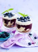 blueberry parfait with cream in glasses