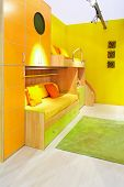 picture of bunk-bed  - Interior of yellow kids room with bunk beds - JPG