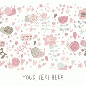 Stylish floral design with cute snails in pastel colors. Seamless pattern can be used for wallpapers