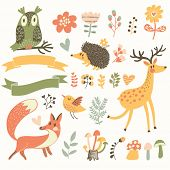 North forest set in vector. Deer, hedgehog, owl, bird and fox in cartoon style. Ribbons with place f