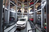 MOSCOW - JAN 11: The Volkswagen Golf on lift in premises for storage cars in Volkswagen Center Varsh