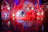 MOSCOW - JAN 5: Actor-spider on cobweb during musical show for children Through the Looking Glass in