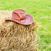 stock photo of bareback  - Brown cowboy hat laying on hay stack - JPG