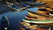 Escena de bambú pequeña embarcación bajo luz dorada