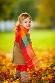Little girl in the autumn park