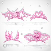 Pink Tiaras Set With Hearts For Carnival Costume To The Angel An