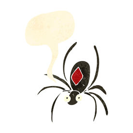 image of black widow spider  - retro cartoon black widow spider - JPG