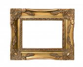 Gilded antique frame isolated on a white background
