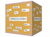 Commercial Lending 3D Cube Corkboard Word Concept