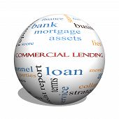 stock photo of lien  - Commercial Lending 3D sphere Word Cloud Concept with great terms such as loan fees business plan and more - JPG