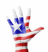 Open Hand Raised, Multi Purpose Concept, Liberia Flag Painted - Isolated On White Background