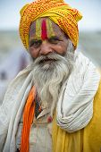 INDIA - FEBRUARY 17: Indian man in Allahabad during Kumbh Mela Festival on February 17, 2013.