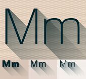 Vector illustration of flat modern long transparent shadow alphabet. Letter m