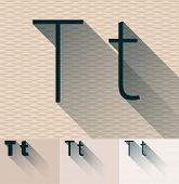 Vector illustration of flat modern long transparent shadow alphabet. Letter t