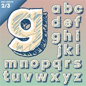 Sketch alphabet. Vector illustration of hand drawing font. Art-deco style. Lowercase letters