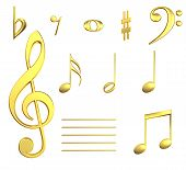 Musical Notes In Gold
