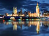stock photo of london night  - Big Ben and Houses of Parliament at evening London UK - JPG