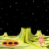 UFO alien flying saucer on another planet - vector illustration in a cartoon style. (UFO vector seri