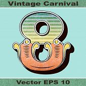 The Number 8, Eight of an Alphabet Sit of Vintage, Carnival, Circus, Funfair, Fishtail Letters and N