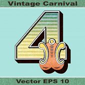 The Number 4, Four of an Alphabet Sit of Vintage, Carnival, Circus, Funfair, Fishtail Letters and Nu