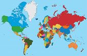 Colorful map of World poster