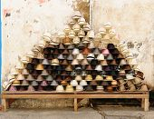 picture of panama hat  - Street stall with hand - JPG