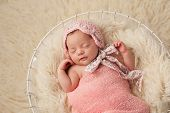stock photo of dainty  - A portrait of a five week old newborn baby girl wearing a pink bonnet - JPG